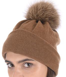 Bonnet laine et renard camel Tsanikidis