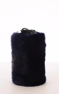 Pochon Cuir et Fourrure de Vison Bleu1