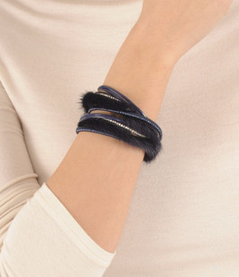 Bracelet Fourrure Vison Bleu Tsanikidis