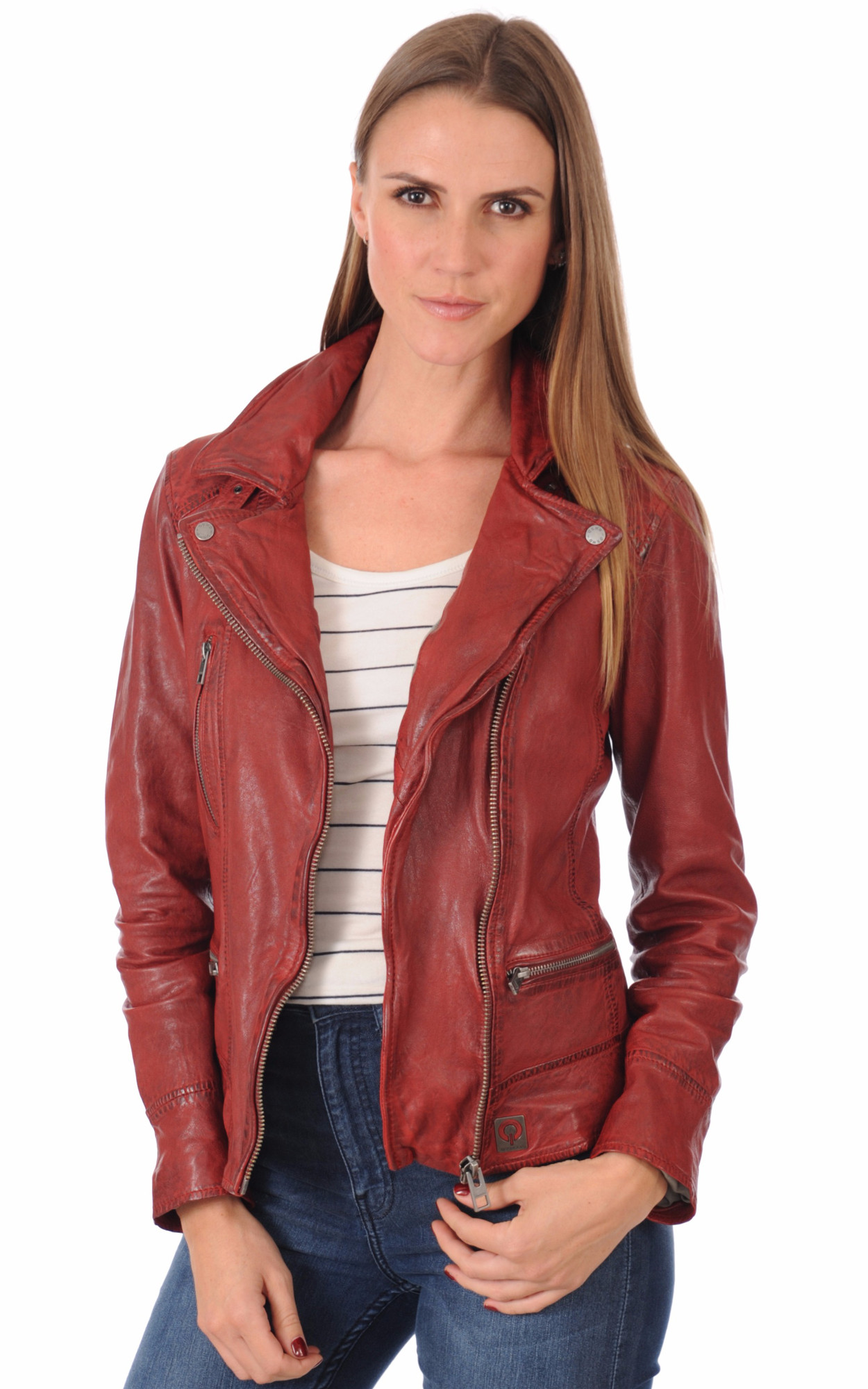 Blouson cuir oakwood rouge femme