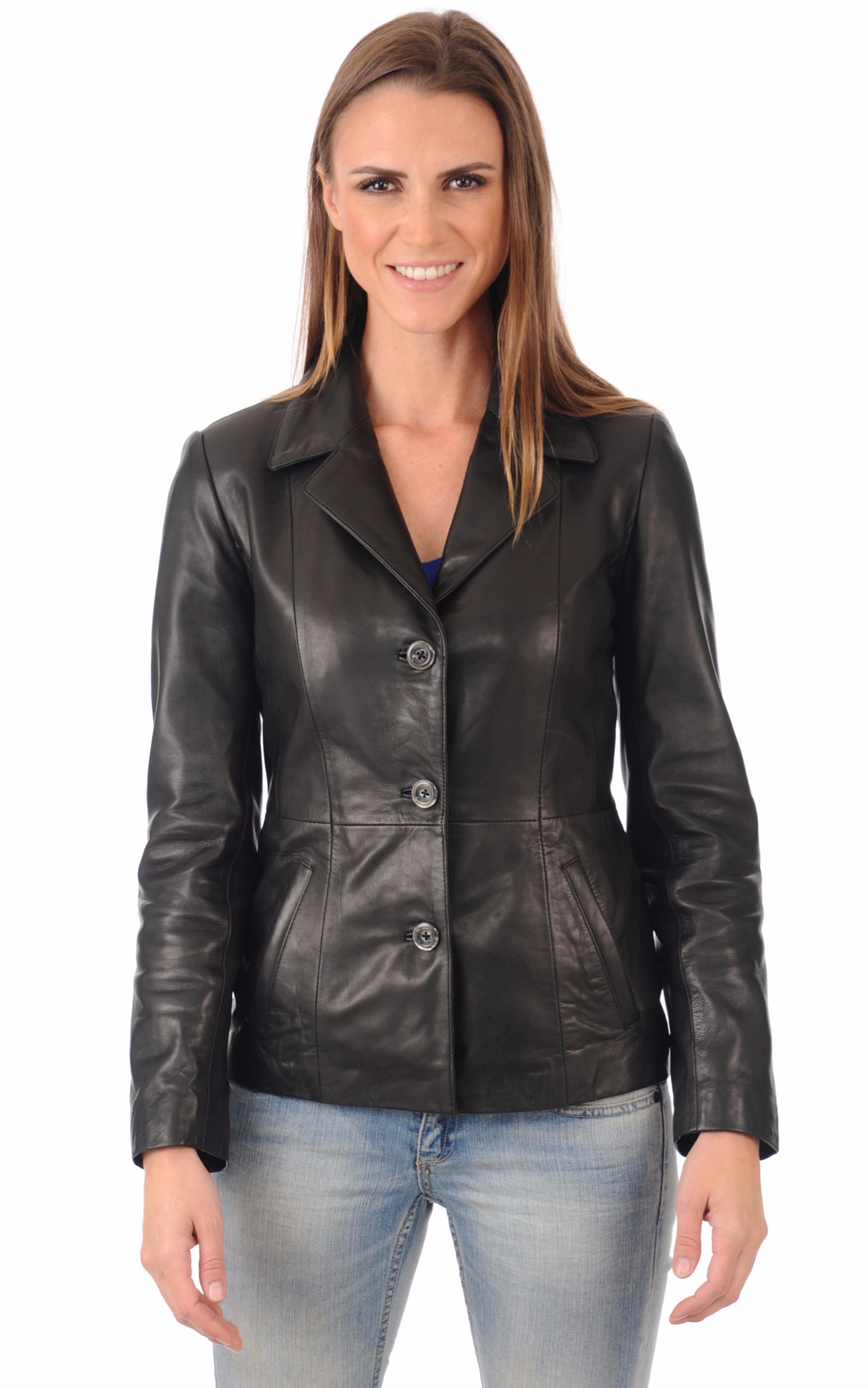 blazer en cuir pour femme la canadienne la canadienne veste 3 4 cuir noir. Black Bedroom Furniture Sets. Home Design Ideas