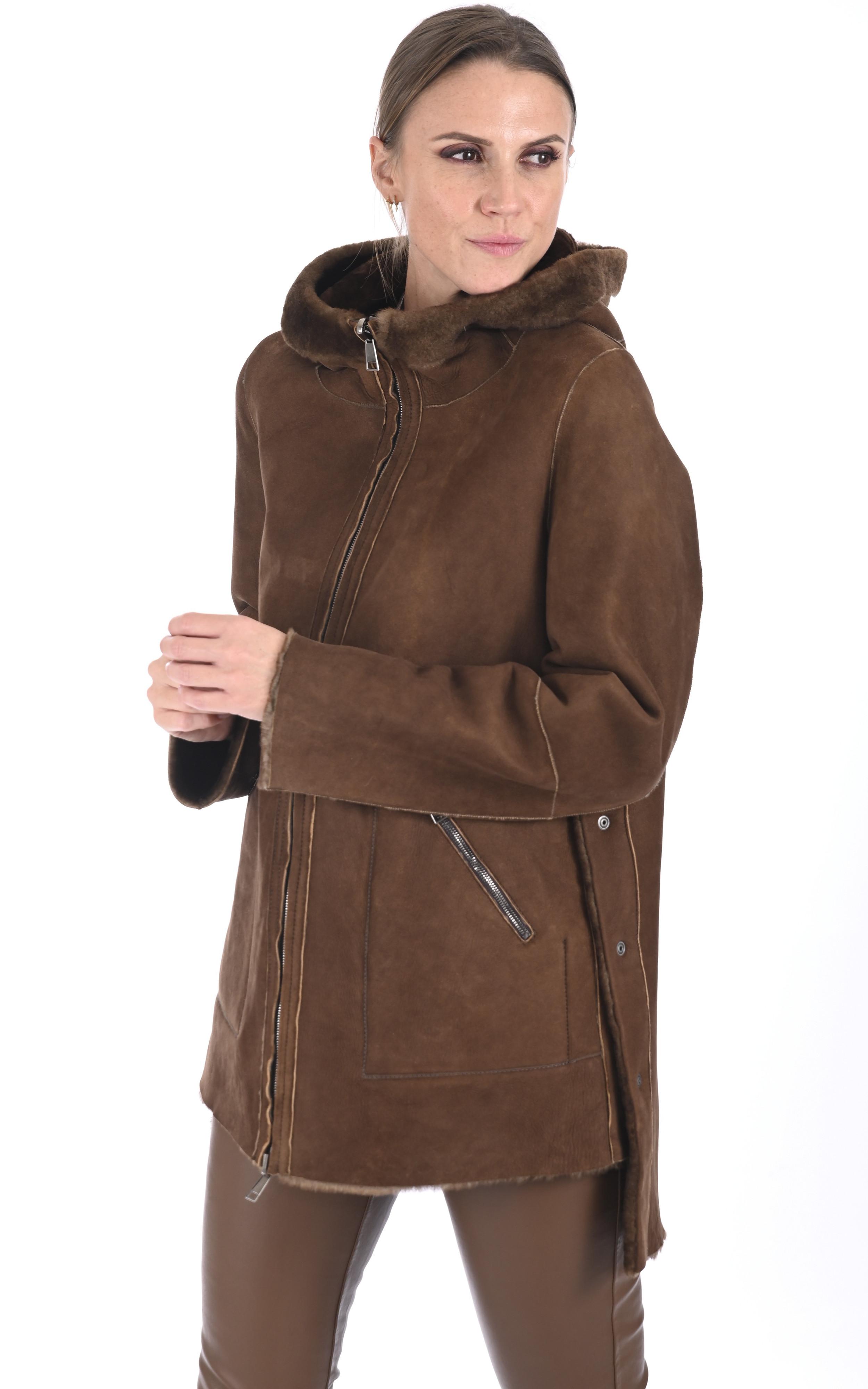 Veste réversible en laine d'agneau cognac Artico