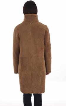 Manteau réversible mérinos camel