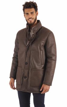 Duffle Coat Peau Lainée Marron1