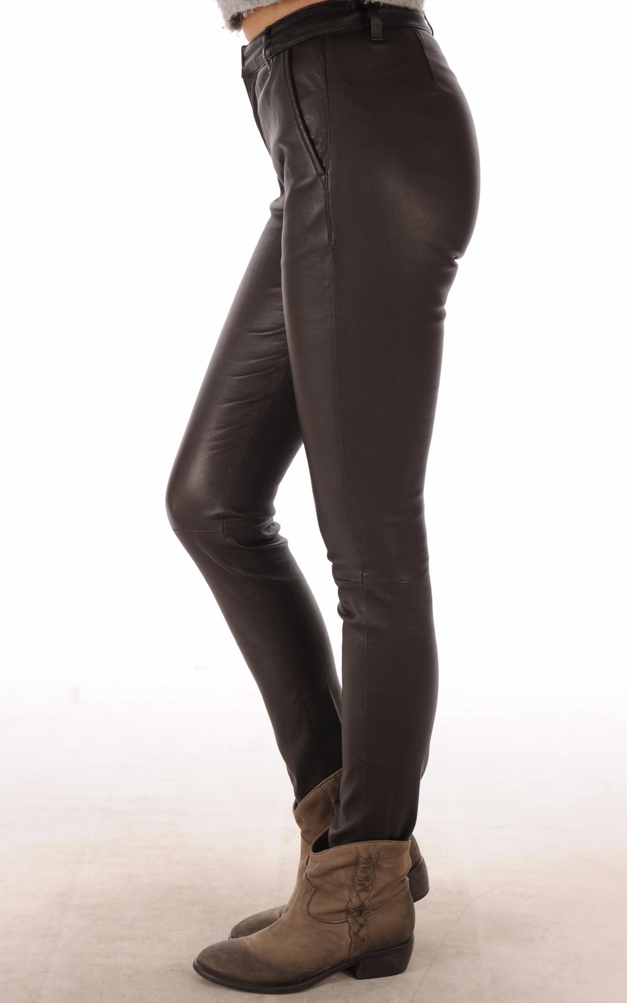Pantalon Slim Cuir Agneau Marron