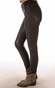 Pantalon Slim Cuir Agneau Stretch Marron