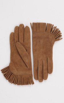 Gants cuir velours camel