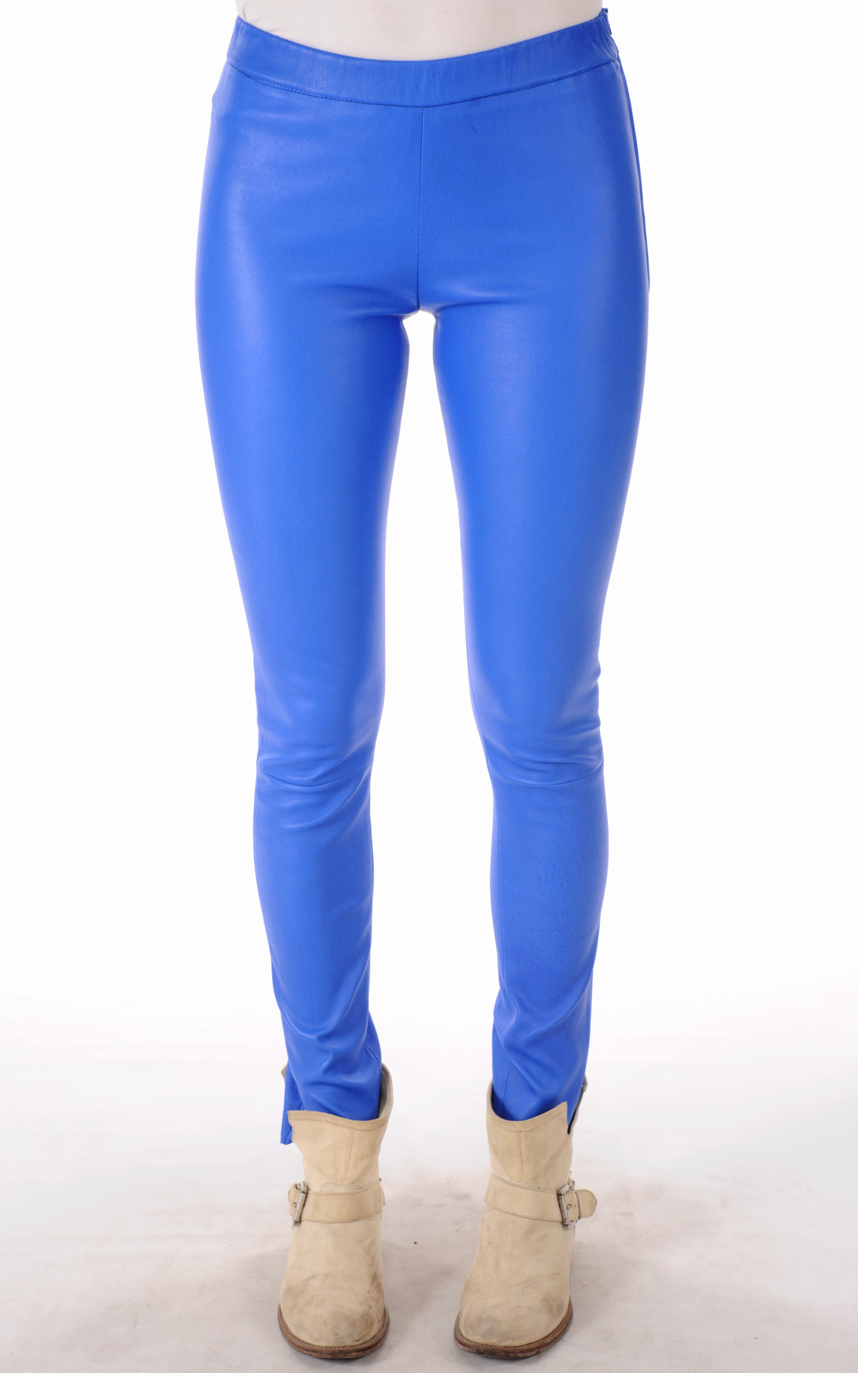 Leggings Cuir Bleu Electrique1