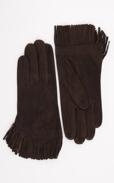 Gants Cuir Velours Marron Foncé
