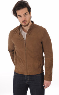 Blouson Cuir Velours Taupe