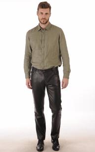 Pantalon Cuir Agneau Noir Homme