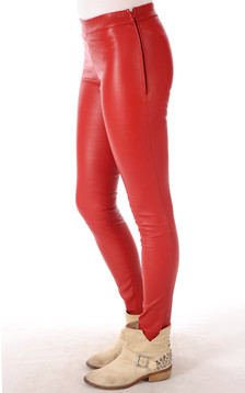 Leggings Cuir Rouge Vif