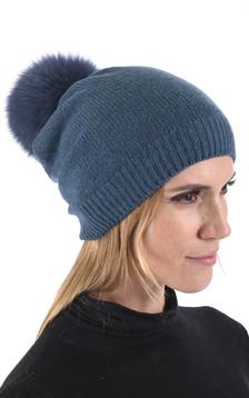 Bonnet cachemire et renard bleu pétrole