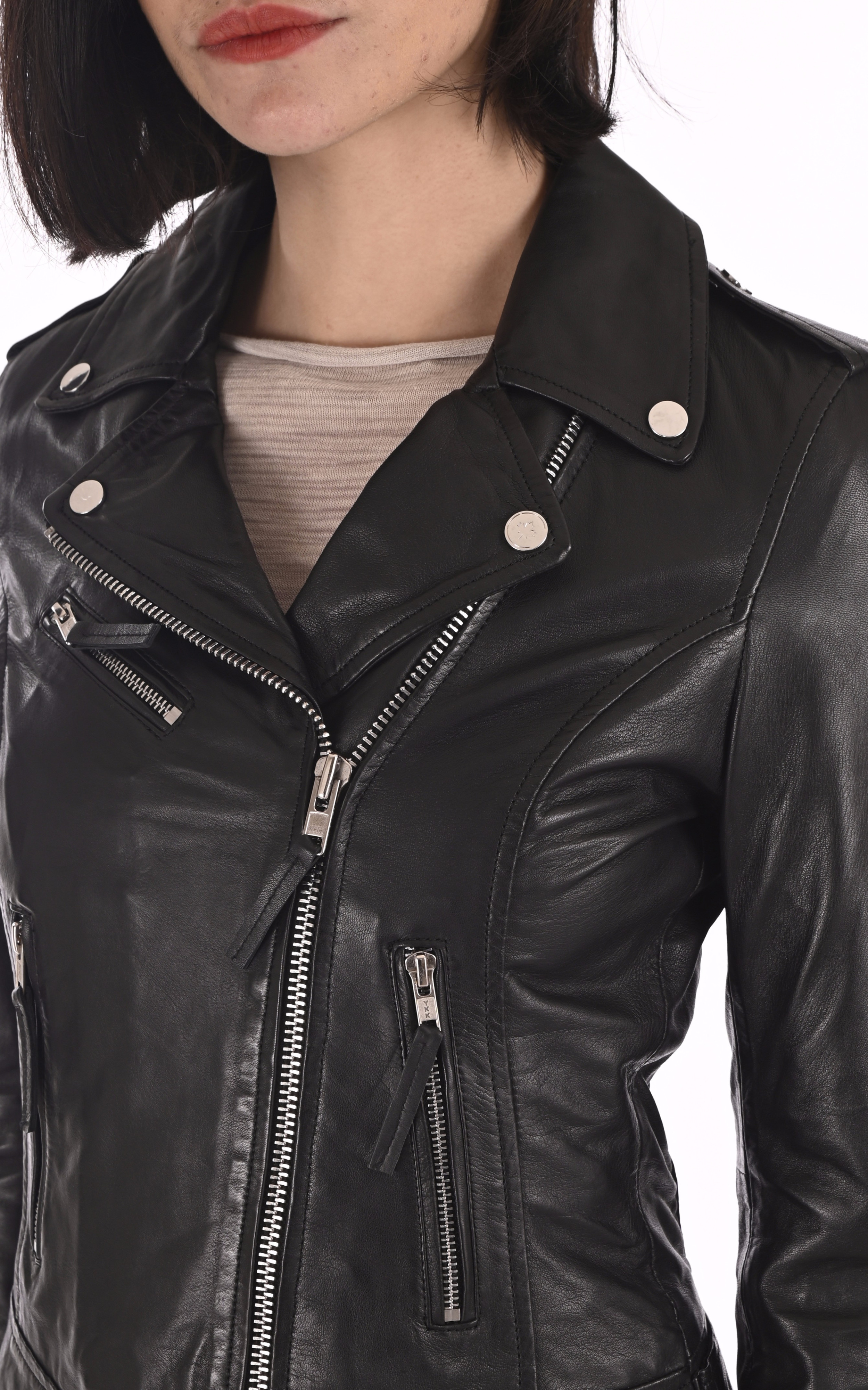 Blouson cuir noir femme La Canadienne