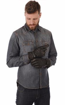 Gants Cuir Vachette Noir Homme