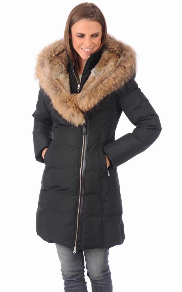 doudoune chaude avec fourrure trish mackage la canadienne doudoune parka textile noir. Black Bedroom Furniture Sets. Home Design Ideas