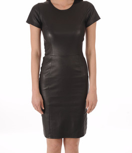 Robe Cuir Stretch Noir La Canadienne