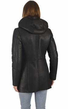 Veste à capuche mouton noire