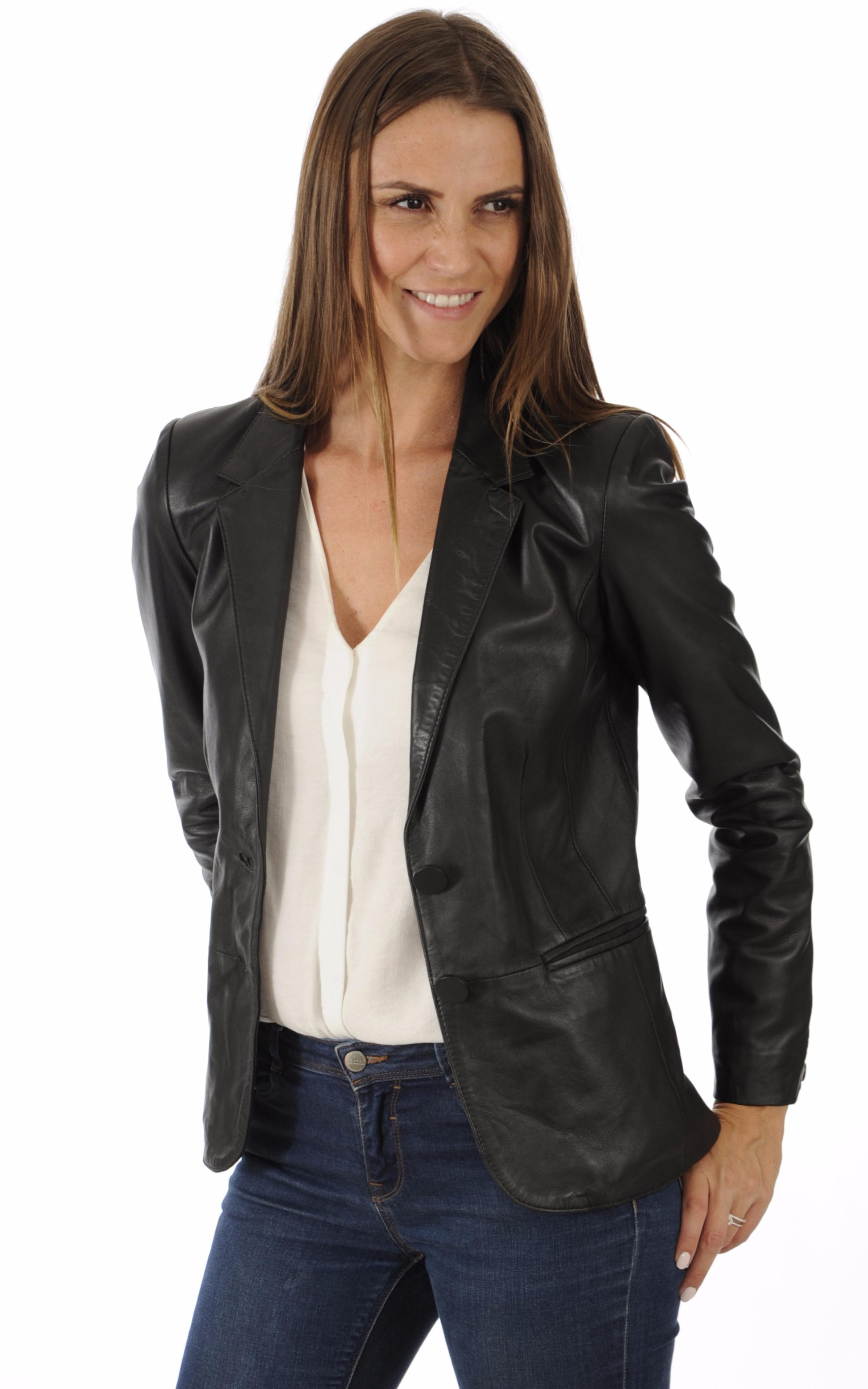 blazer cuir noir femme oakwood la canadienne veste 3. Black Bedroom Furniture Sets. Home Design Ideas