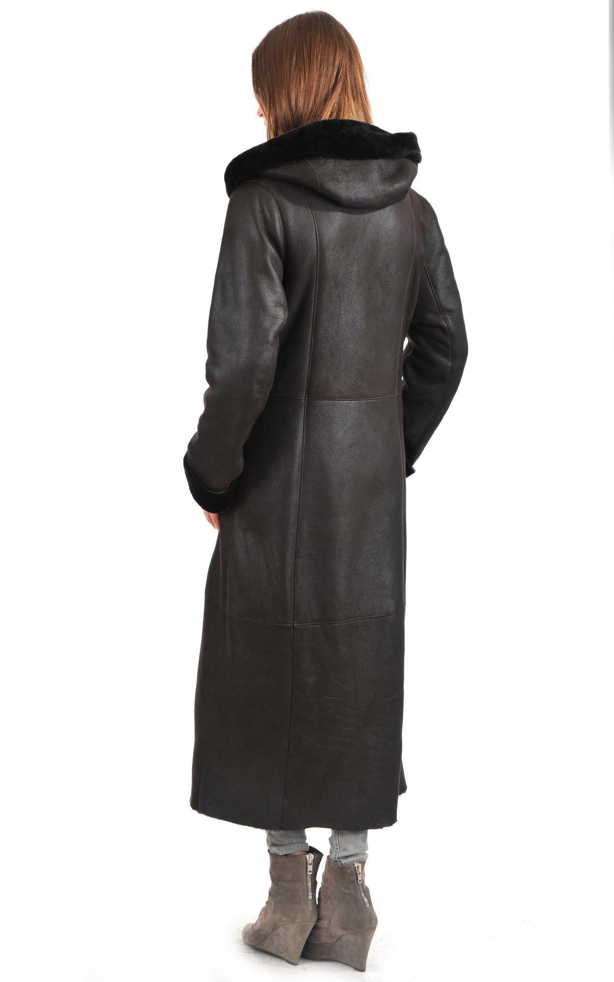 Manteau Cintré Peau Lainée Femme