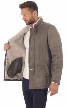 Veste peau lainé grise entrefino