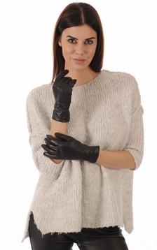Gants Cuir Agneau Noir pour Femme