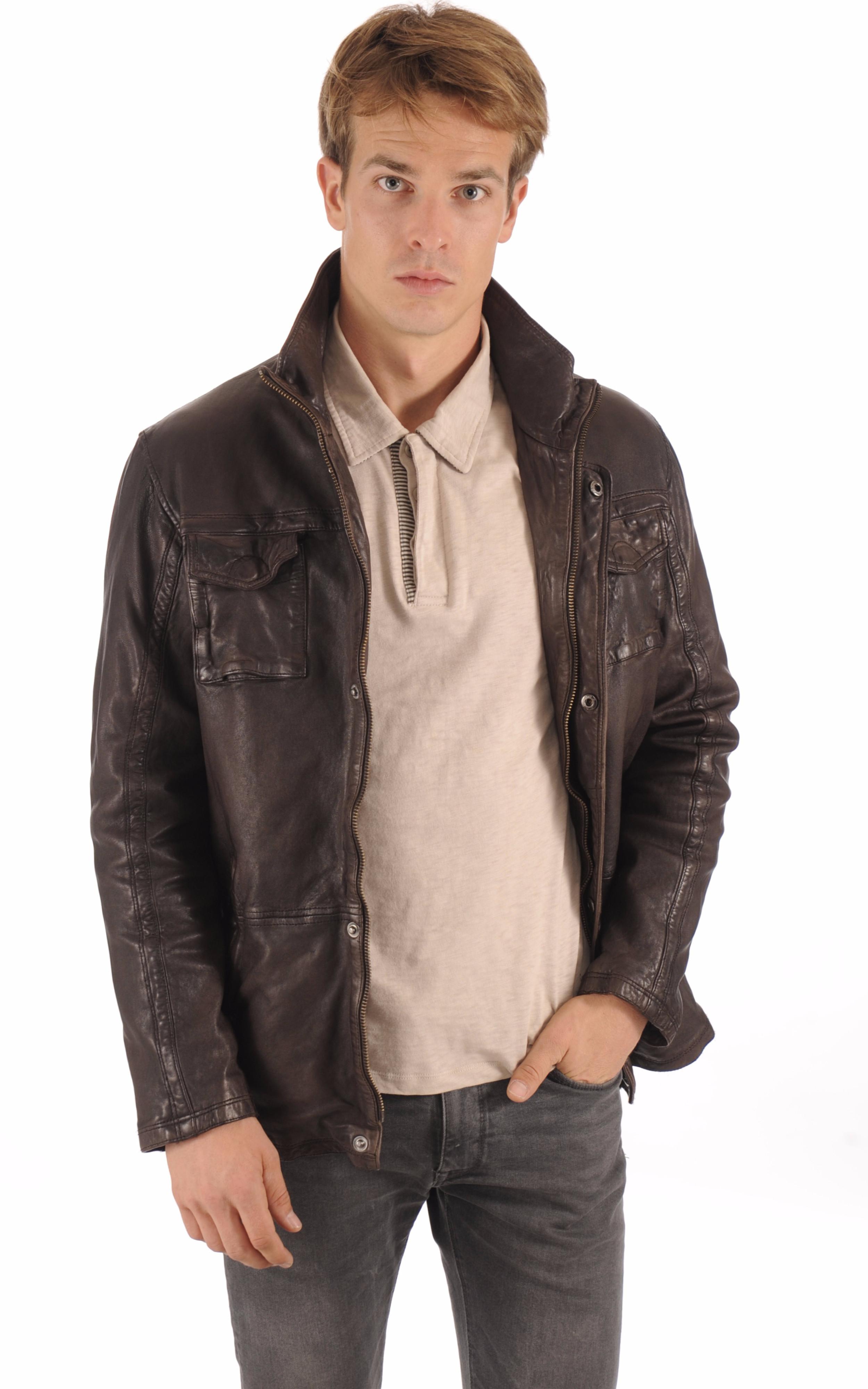 Veste confortable Cuir Homme Trapper