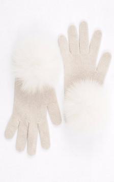 Gants cachemire et renard blanc cassé