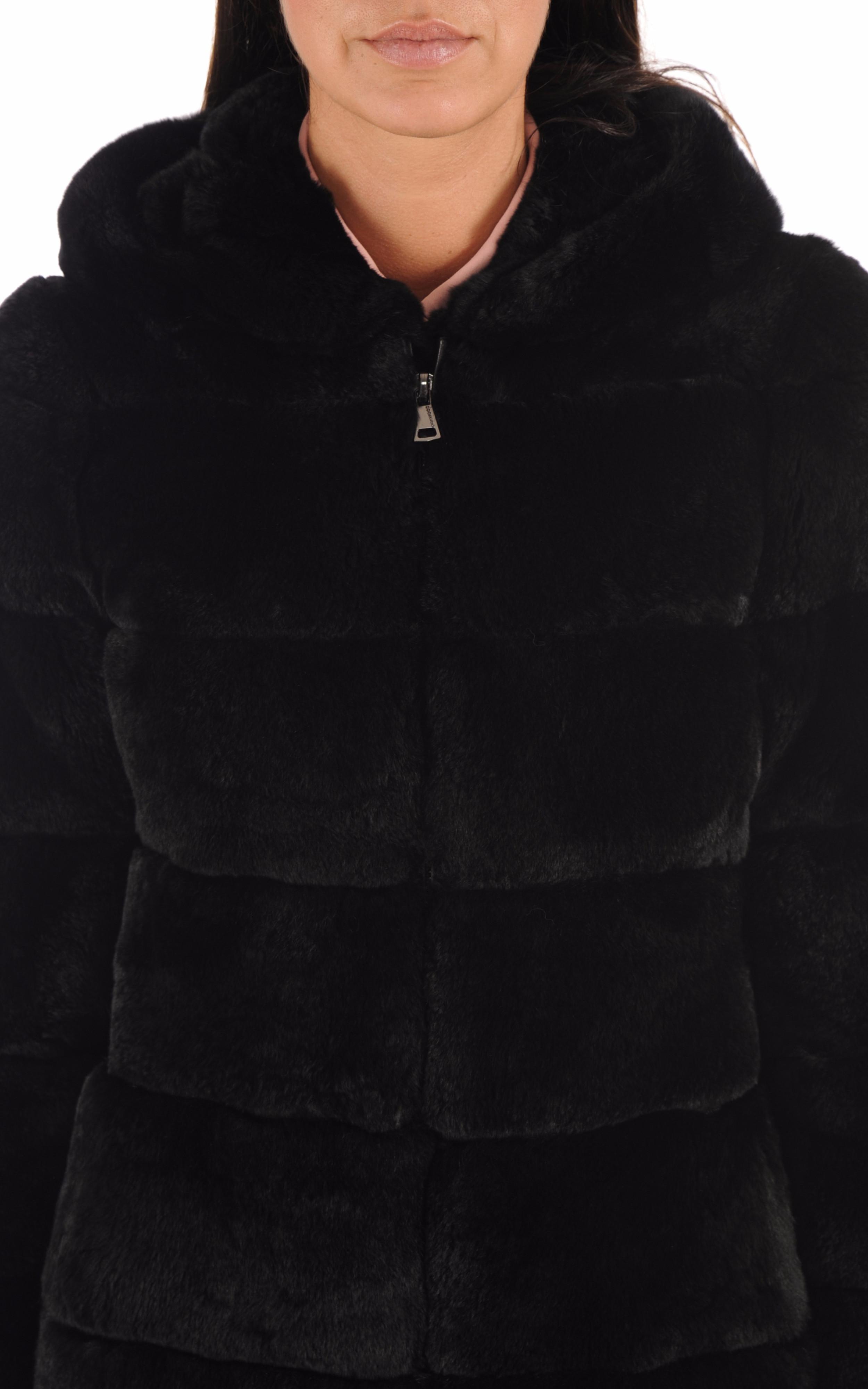 Manteau fourrure rex noir Oakwood