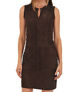 Robe cuir velours marron La Canadienne