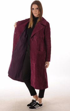 Manteau 7/8 Chèvre Velours Bordeaux