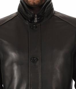 Sur-veste en Cuir Chaude Noir Milestone
