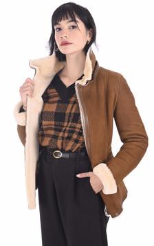 Veste peau lainée velours camel