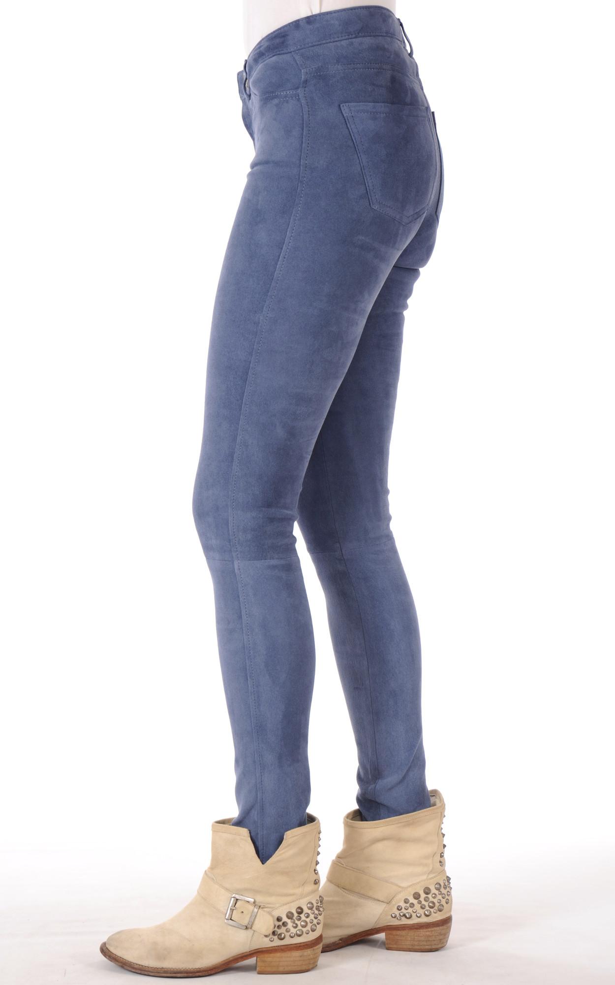 Pantalon Slim Aspect Daim Bleu1