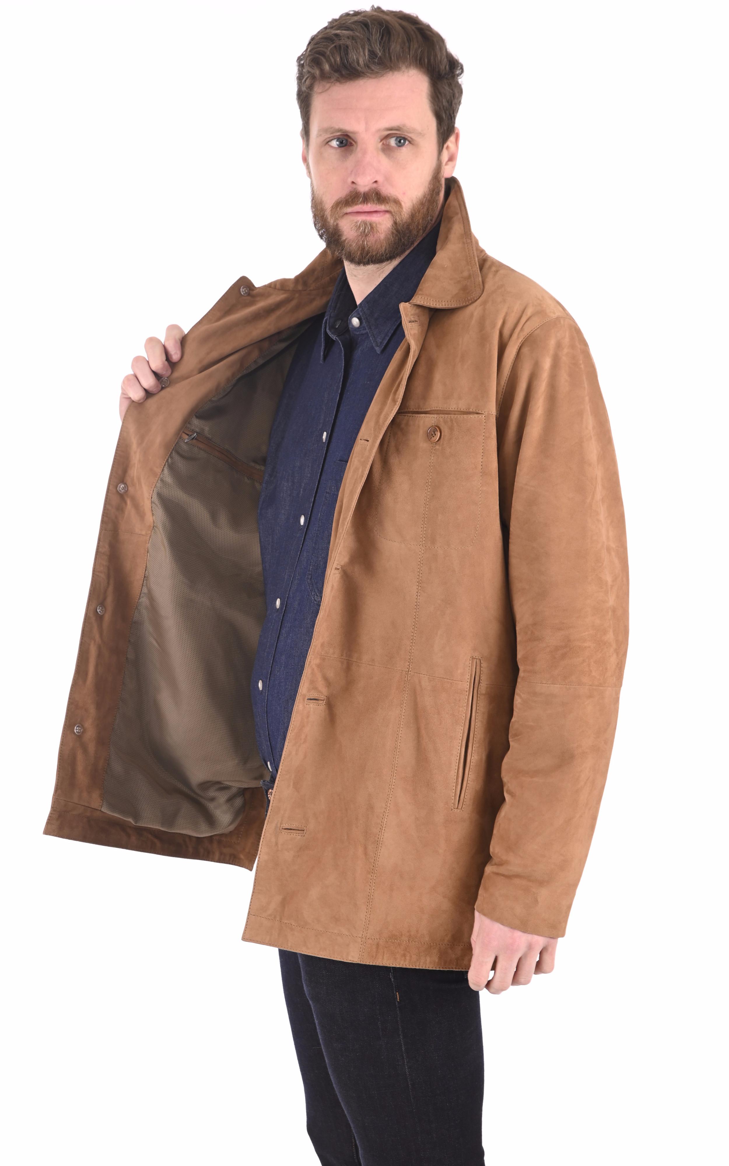 Veste cuir velours sable Smarty