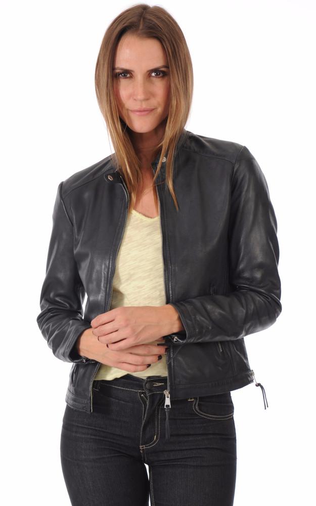 blouson coupe motard femme redskins la canadienne blouson cuir bleu nuit. Black Bedroom Furniture Sets. Home Design Ideas