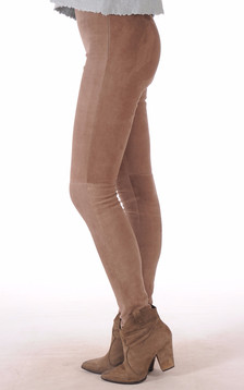 Leggings Cuir Velours Mastic