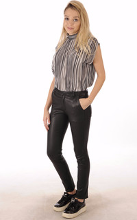 Pantalon Cuir Agneau Stretch Noir