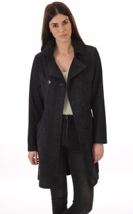 Trench Cuir Velours Marine Femme