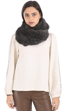 Snood fourrure lapin kaki gris