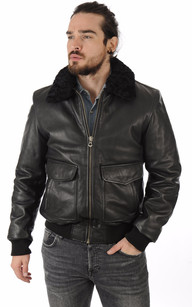 Veste cuir homme col chemise