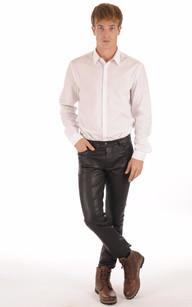 Pantalon Cuir Stretch Noir Homme