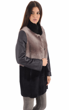 Manteau mérinos réversible femme
