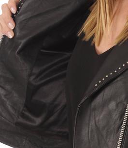 Blouson en cuir noir brodé Giorgio