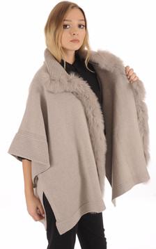 Poncho en laine taupe bordé de fourrure