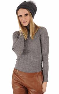 Bonnet en laine merino gris