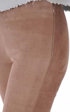 Legging cuir velours mastic