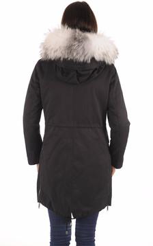Parka noire 2-en-1 fourrée renard