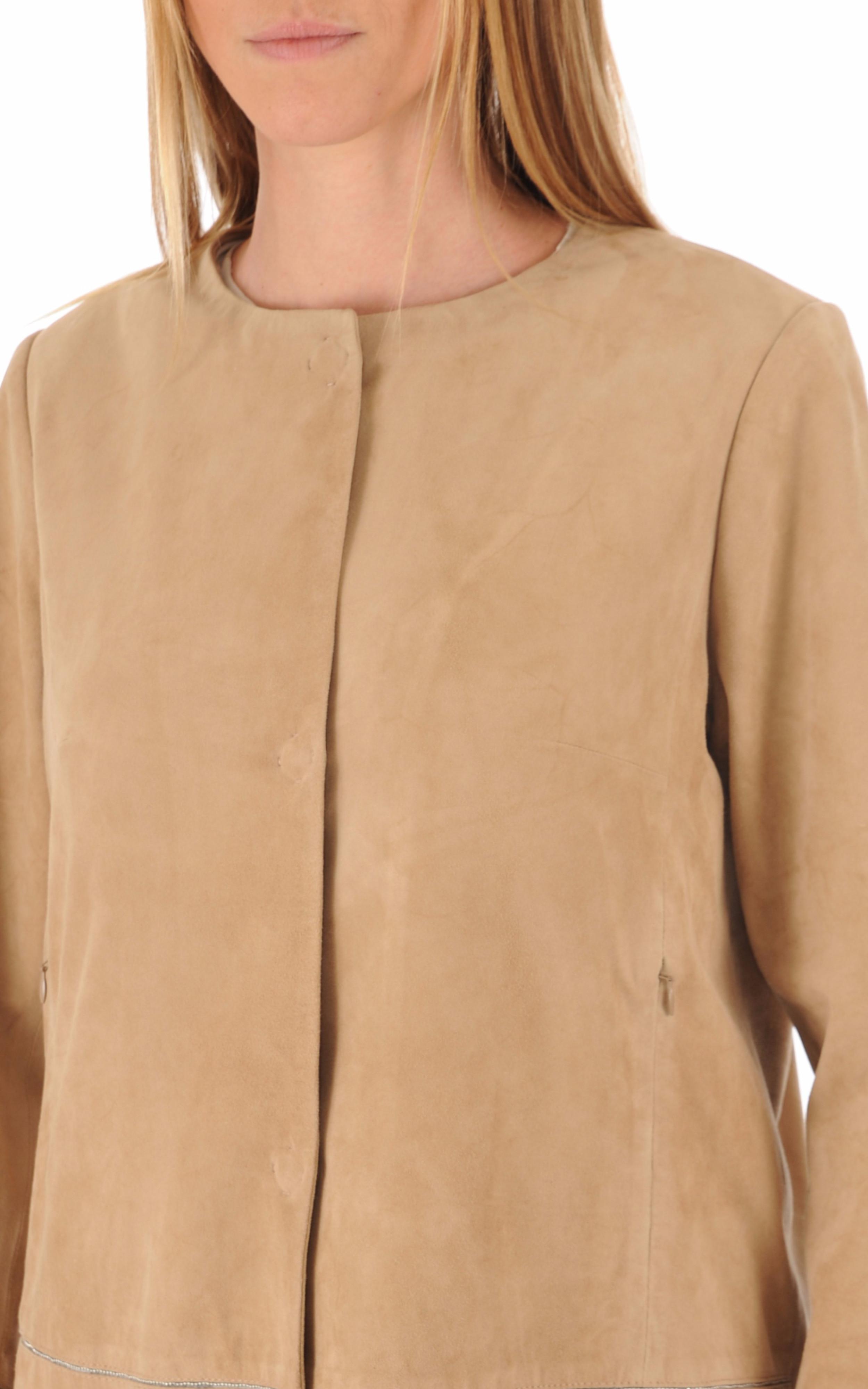 Veste cuir agneau camel Suprema
