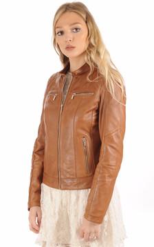 Blouson motard cuir tan